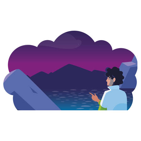 man contemplating horizon in lake and mountains at night vector illustration design