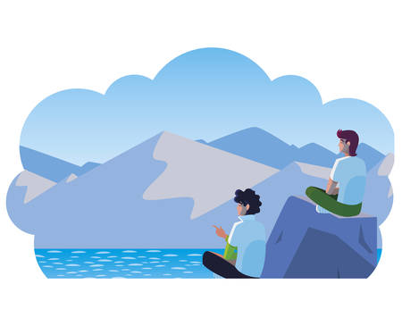 men couple contemplating horizon in lake and mountains scene vector illustration