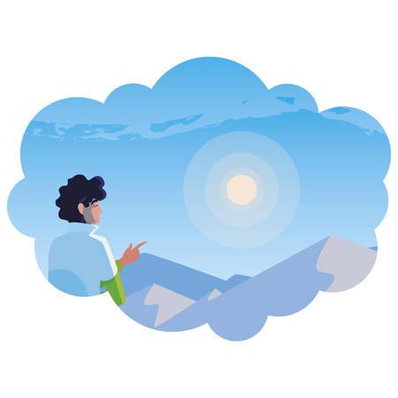 man contemplating horizon in snowscape scene vector illustration design