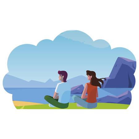 couple contemplating the horizon in the field scene vector illustration design  イラスト・ベクター素材
