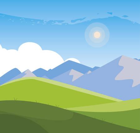 Camp de terrain et montagnes paysage scène design d'illustration vectorielle