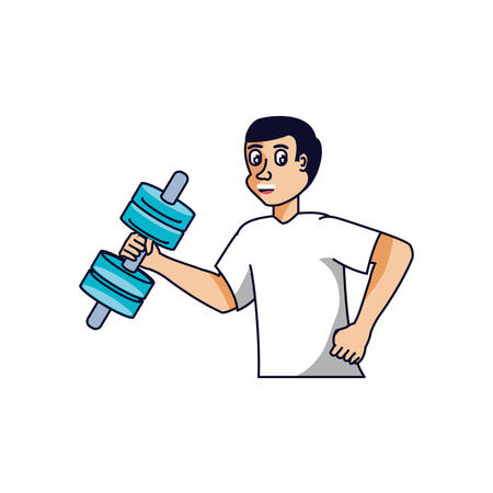 man athletic with dumbbell avatar character vector illustration design Illustration