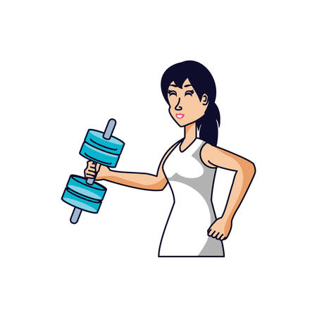 athletic woman with dumbbell avatar character vector illustration design