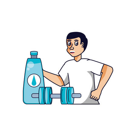 man athletic with dumbbell and bottle of water vector illustration design