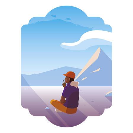 afro man contemplating horizon in snowscape scene vector illustration design 矢量图像