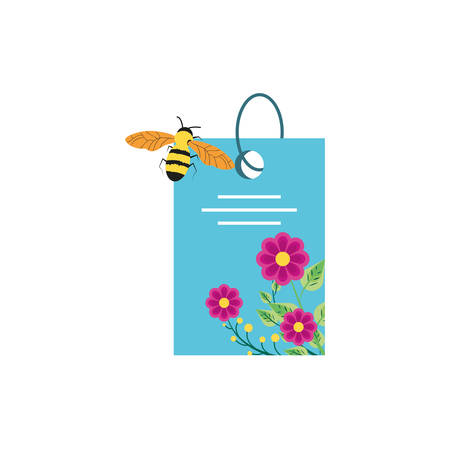 tag with flowers decoration and bee vector illustration design Иллюстрация