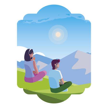 couple contemplating the horizon in the field scene vector illustration design 矢量图像
