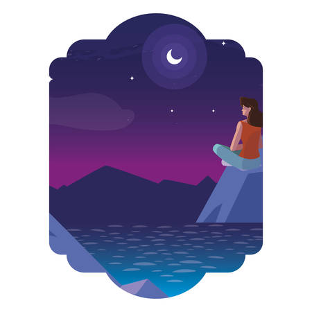 woman contemplating horizon in lake and mountains at night vector illustration Imagens - 122784420