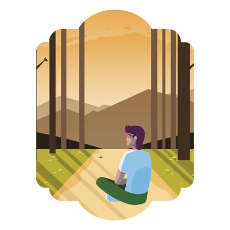 man contemplating horizon in the forest scene vector illustration design