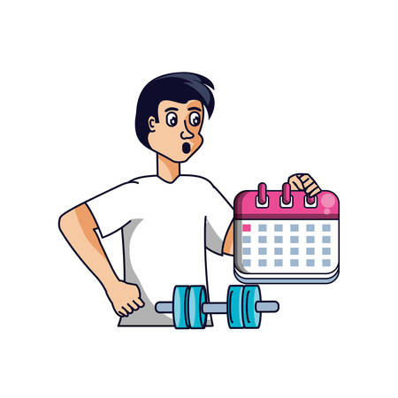 man athletic with calendar and dumbbell vector illustration design Illustration