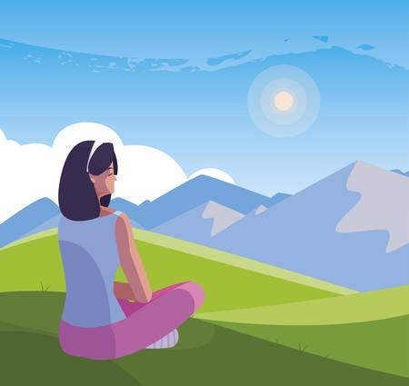 woman contemplating the horizon in the field scene vector illustration design Ilustrace