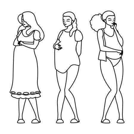 group of beautiful pregnancy women characters vector illustration design