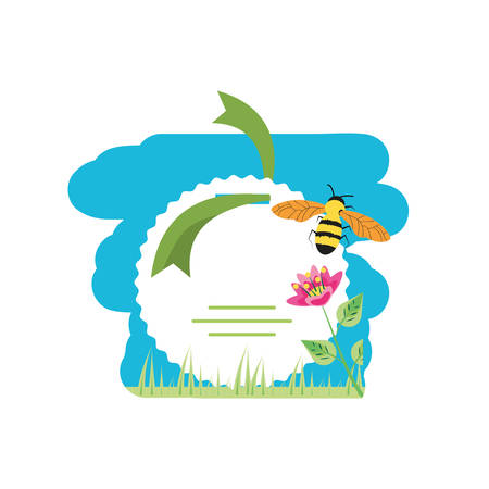 tag with flower decoration and bee in grass vector illustration design