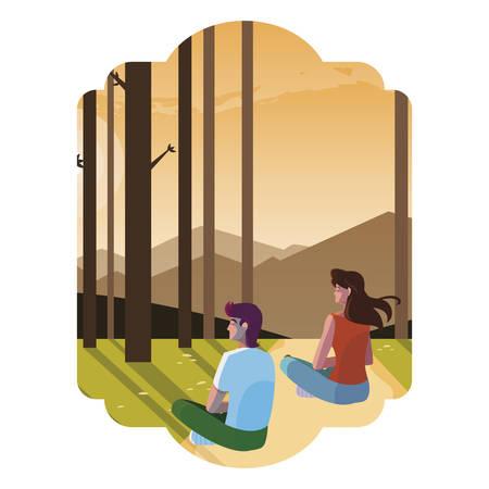 couple contemplating horizon in the forest scene vector illustration design Stock Illustratie