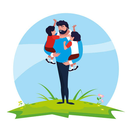 father with sons characters in the field vector illustration design Stock Vector - 122721394