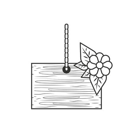 wooden label hanging with flower and leafs vector illustration design