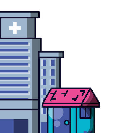 hospital structure with facade of house vector illustration design