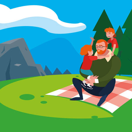 father with sons characters in the field picnic day vector illustration design Illustration