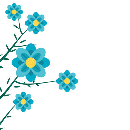 beautiful flowers naturals in branches vector illustration design