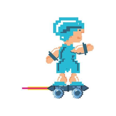 video game warrior in skate pixelated icon vector illustration design