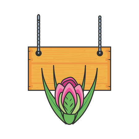 wooden label hanging with rose isolated icon vector illustration design Illustration