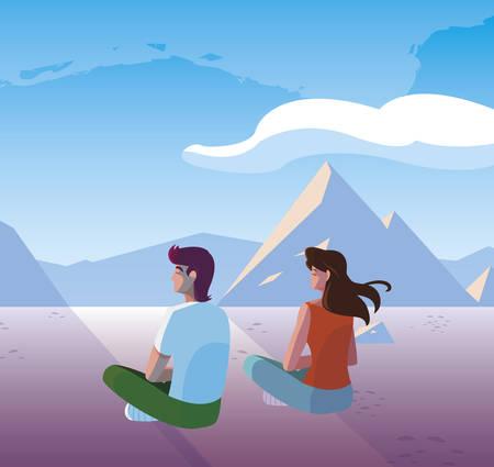 couple contemplating horizon in snowscape scene vector illustration design Ilustrace