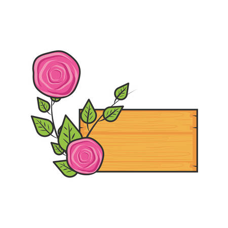 label wooden with roses naturals and leafs vector illustration design