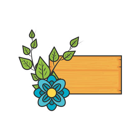 label wooden with flower naturals and leafs vector illustration design