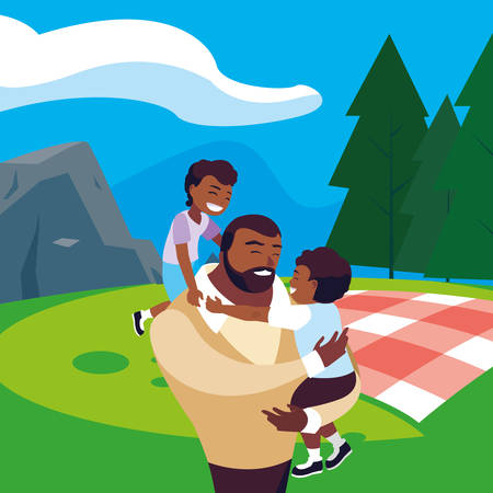 afro father with sons characters in the field picnic day vector illustration design Stock Vector - 122721550