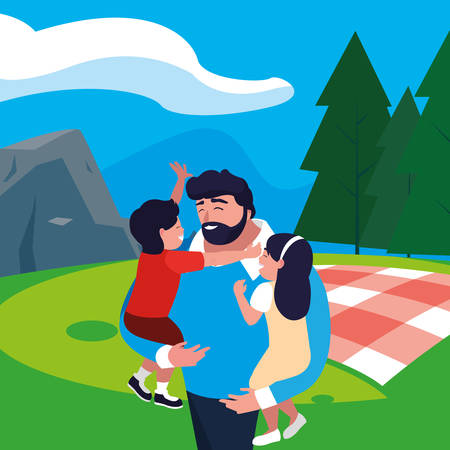 father with son and daughter in the field picnic day vector illustration design