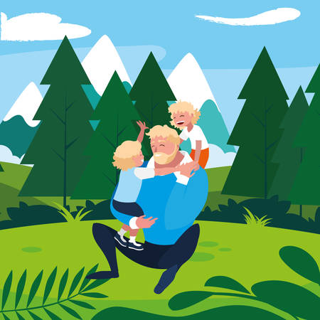 father with sons characters in the field vector illustration design Ilustrace