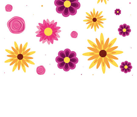 pattern of beautiful flowers natural vector illustration design Illustration