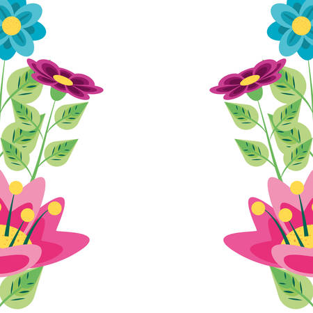 beautiful flowers naturals in branches and leafs vector illustration design Illustration