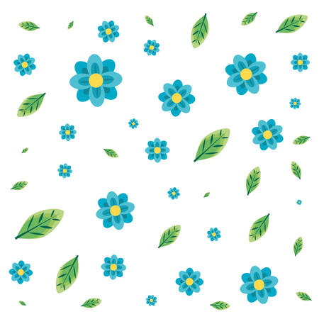pattern of beautiful flowers and leafs vector illustration design Stock Illustratie