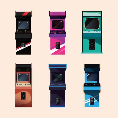 arcade machine video game retro collection vector illustration design Vettoriali