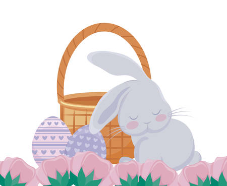 cute rabbit with basket wicker and eggs of easter vector illustration design Фото со стока - 122723181