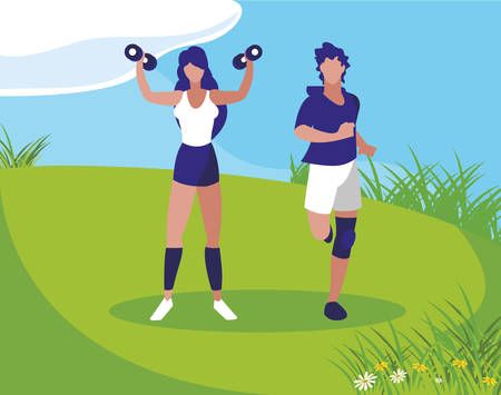 athletic man running and woman weight lifting in the camp vector illustration design  イラスト・ベクター素材