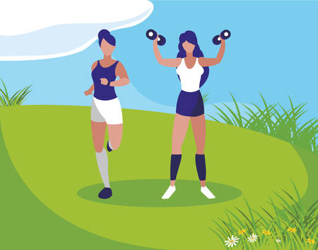athletic women running and weight lifting in the camp vector illustration design 矢量图像