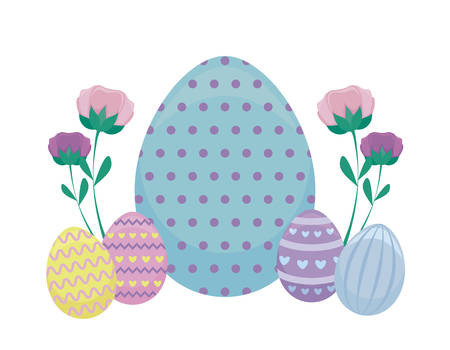 decorated eggs of easter vector illustration design Çizim