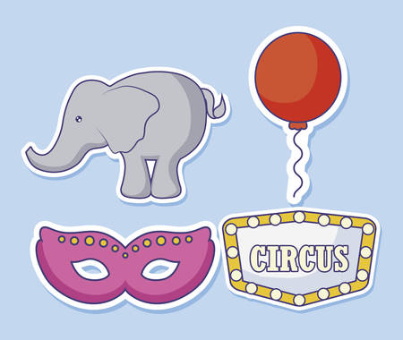 mask circus with elephant and balloon helium vector illustration design