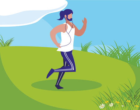 athletic man running in the camp vector illustration design