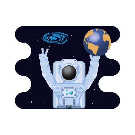 earth planet with astronaut scene space vector illustration design Illustration