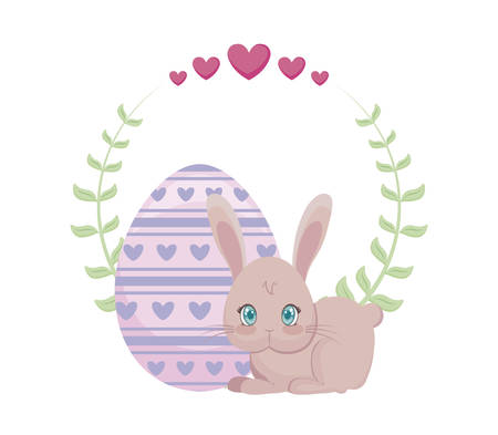 cute rabbit with egg of easter and crown leafs vector illustration design