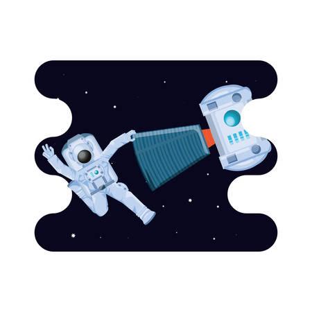 space astronaut with satellite scene vector illustration design