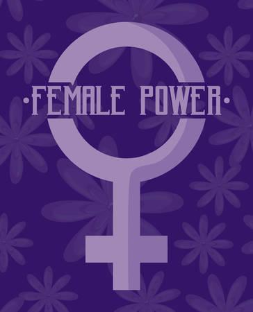 female power celebration card with gender female symbol vector illustration design 向量圖像