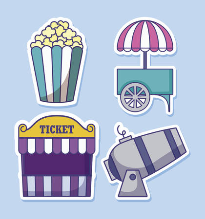 carnival kiosk with set icons of circus vector illustration design
