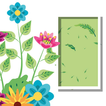 frame rectangle with flowers decoration vector illustration design