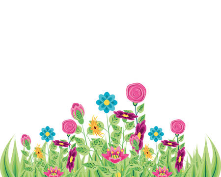 scene nature with set of flowers and leafs vector illustration design
