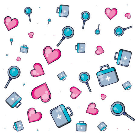 pattern of first aid kit with hearts and magnifying glass vector illustration design Stock Illustratie
