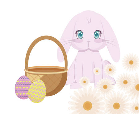 cute rabbit with basket wicker and eggs of easter vector illustration design Фото со стока - 122723447